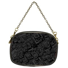 Black Rectangle Wallpaper Grey Chain Purse (two Sides)