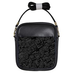 Black Rectangle Wallpaper Grey Girls Sling Bag