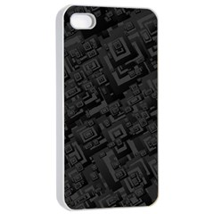 Black Rectangle Wallpaper Grey Apple Iphone 4/4s Seamless Case (white)