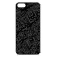 Black Rectangle Wallpaper Grey Apple Seamless Iphone 5 Case (clear)