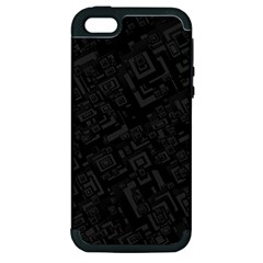 Black Rectangle Wallpaper Grey Apple Iphone 5 Hardshell Case (pc+silicone)