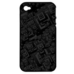 Black Rectangle Wallpaper Grey Apple Iphone 4/4s Hardshell Case (pc+silicone)