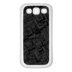 Black Rectangle Wallpaper Grey Samsung Galaxy S3 Back Case (white)