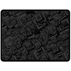 Black Rectangle Wallpaper Grey Double Sided Fleece Blanket (large)