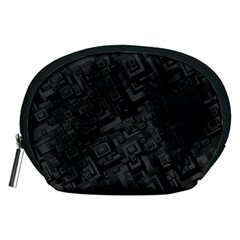 Black Rectangle Wallpaper Grey Accessory Pouch (medium)