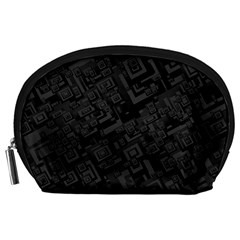 Black Rectangle Wallpaper Grey Accessory Pouch (large)