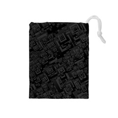 Black Rectangle Wallpaper Grey Drawstring Pouch (medium)