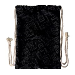 Black Rectangle Wallpaper Grey Drawstring Bag (large)