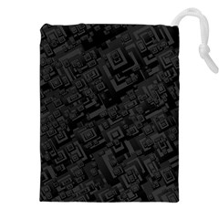Black Rectangle Wallpaper Grey Drawstring Pouch (xxl)