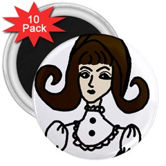 Girl With Dress 3  Magnets (10 Pack)