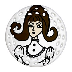 Girl With Dress Ornament (round Filigree)