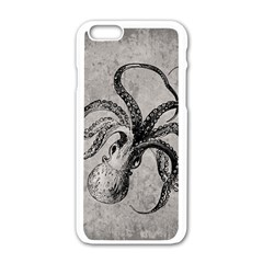 Vintage Octopus  Apple Iphone 6/6s White Enamel Case by Valentinaart