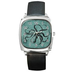 Vintage Octopus  Square Metal Watch by Valentinaart