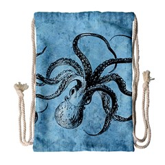 Vintage Octopus  Drawstring Bag (large) by Valentinaart