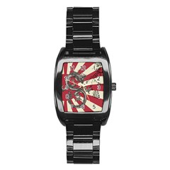 Rising Sun Flag Stainless Steel Barrel Watch by Valentinaart