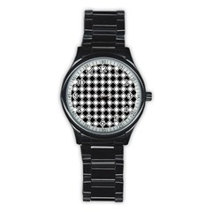 Square Diagonal Pattern Seamless Stainless Steel Round Watch