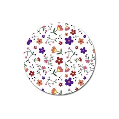 Flowers Pattern Texture Nature Magnet 3  (round)