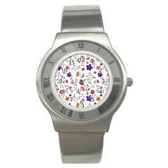 Flowers Pattern Texture Nature Stainless Steel Watch
