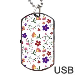 Flowers Pattern Texture Nature Dog Tag Usb Flash (one Side)