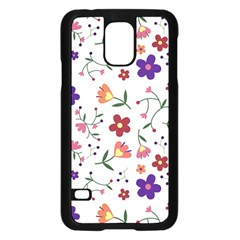 Flowers Pattern Texture Nature Samsung Galaxy S5 Case (black)