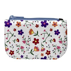 Flowers Pattern Texture Nature Large Coin Purse