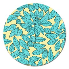 Leaves Dried Leaves Stamping Magnet 5  (round)