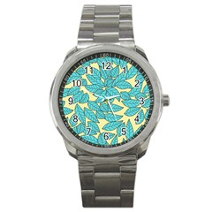 Leaves Dried Leaves Stamping Sport Metal Watch by Nexatart