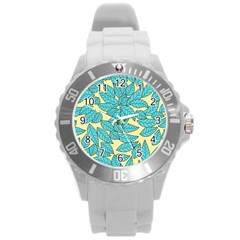 Leaves Dried Leaves Stamping Round Plastic Sport Watch (l) by Nexatart