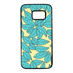 Leaves Dried Leaves Stamping Samsung Galaxy S7 Black Seamless Case by Nexatart