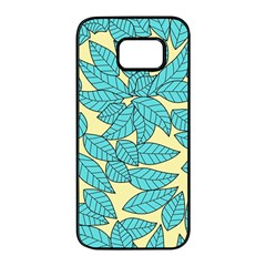 Leaves Dried Leaves Stamping Samsung Galaxy S7 Edge Black Seamless Case by Nexatart