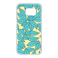 Leaves Dried Leaves Stamping Samsung Galaxy S7 Edge White Seamless Case by Nexatart