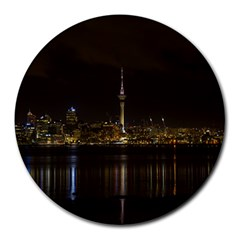 City River Water Cityscape Skyline Round Mousepads by Nexatart