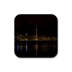 City River Water Cityscape Skyline Rubber Coaster (square)  by Nexatart