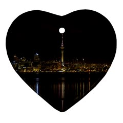 City River Water Cityscape Skyline Heart Ornament (two Sides)