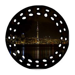City River Water Cityscape Skyline Round Filigree Ornament (two Sides)