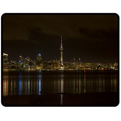 City River Water Cityscape Skyline Double Sided Fleece Blanket (medium)  by Nexatart