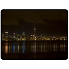 City River Water Cityscape Skyline Double Sided Fleece Blanket (large)  by Nexatart