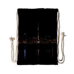 City River Water Cityscape Skyline Drawstring Bag (small) by Nexatart