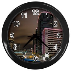 Hong Kong At Night Skyline Wall Clock (black)