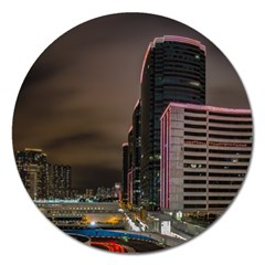Hong Kong At Night Skyline Magnet 5  (round)