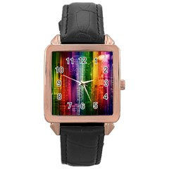Skyline Light Rays Gloss Upgrade Rose Gold Leather Watch