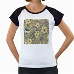 Abstract Art Artistic Botanical Women s Cap Sleeve T Front