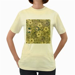 Abstract Art Artistic Botanical Women s Yellow T Shirt