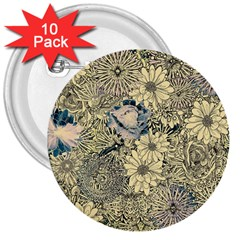 Abstract Art Artistic Botanical 3  Buttons (10 Pack)