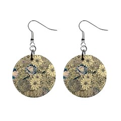 Abstract Art Artistic Botanical Mini Button Earrings