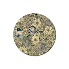 Abstract Art Artistic Botanical Rubber Round Coaster (4 Pack)