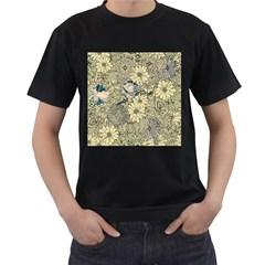 Abstract Art Artistic Botanical Men s T Shirt (black) (two Sided)