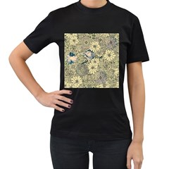 Abstract Art Artistic Botanical Women s T Shirt (black) (two Sided)