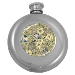 Abstract Art Artistic Botanical Round Hip Flask (5 Oz)