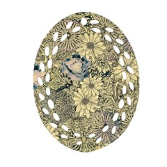 Abstract Art Artistic Botanical Oval Filigree Ornament (two Sides)